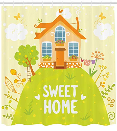 ZMYGH Home Sweet Home Shower Curtain, Cartoon Style Cottage Hut on Green Hilltop with Flourishing Garden Morning, Fabric Bathroom Decor Set with Hooks, 60 X 72inch, Multicolor -