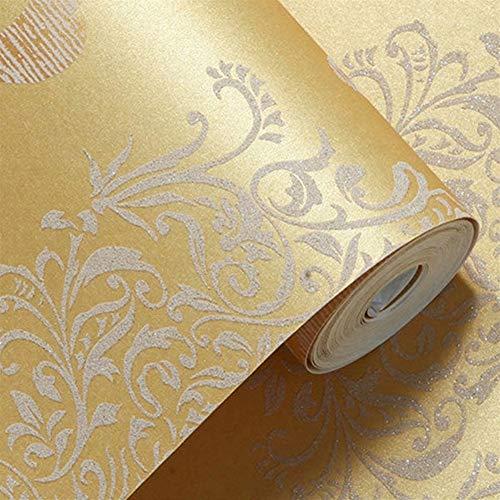 XY399 degrees Wandaufkleber Möbel Aufkleber Italienischen Stil Vintage 3D Geprägte Hintergrundbild for Wohnzimmer Schlafzimmer Dekor Damast Floral Tapetenrolle Tapeten (Color : Golden)
