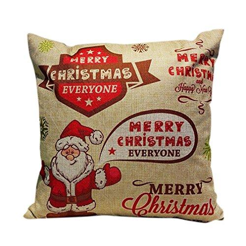 Cushion Cover,Tefamore Christmas Sofa Bed Home Decoration Festival Pillow Case (E)