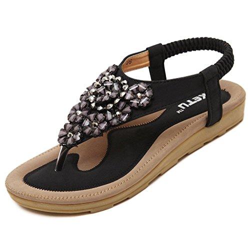 Auspicious beginning Boho Rhinestone Beach Sandals Flat Low Heel Ankle Strap Post Thongs Shoes For Women