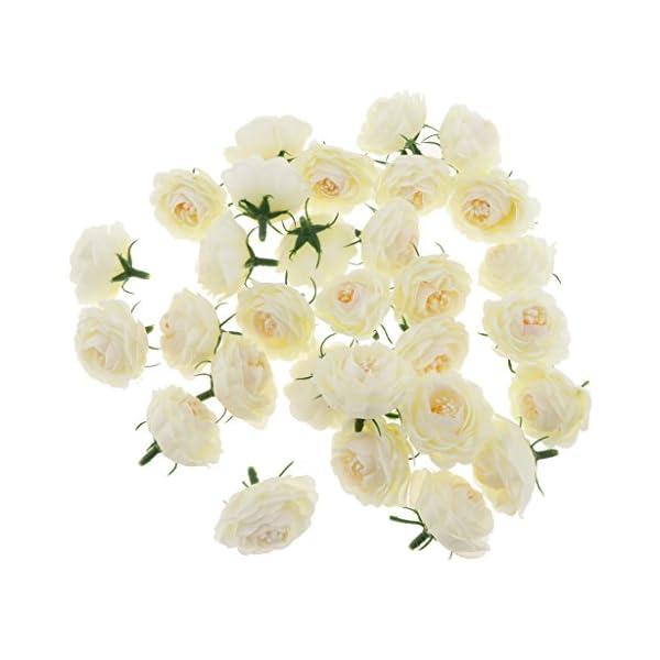 PETSOLA 30pcs Cabeceras De Flores De Camelia De Seda Artificial A Granel Boda Floral Suministros De Pared – Amarillo