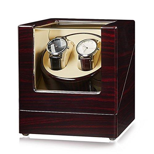 JQUEEN Doppel Uhrenbeweger, automatische Uhrenbeweger mit japanischen Mabuchi Motor Holz rotierenden Uhren Display Aufbewahrungskoffer Box -