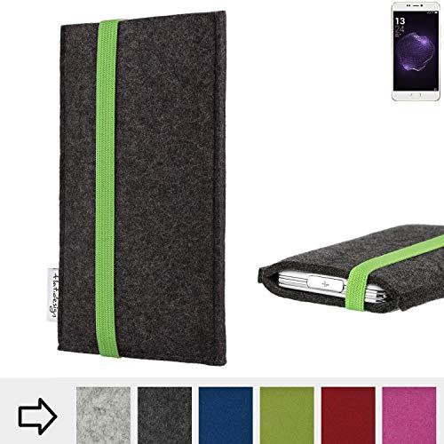 flat.design Handyhülle Coimbra mit Gummiband-Verschluss für Allview X4 Soul Style - Schutz Case Etui Filz Made in Germany in anthrazit grün - passgenaue Handytasche für Allview X4 Soul Style