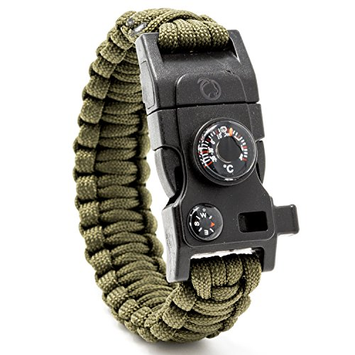 STEINBOCK7® Survival Armband 16-in-1, Paracord, Pfeife, Feuerstein, Messer, Kompass, Thermometer, Multitool, Army-Green