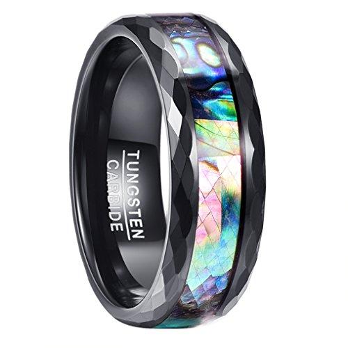 Wolfram Ring Herren schwarz, Nuncad Unisex Ring 8mm breit mit irisierter Abalone-Muschel, perfekt für Hochzeit, Verlobung, Liebesgeschenk, Hobby, Größe 63 (23)