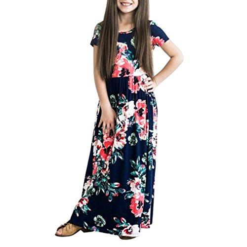 Beikoard vendita calda abbigliamento bambini vestiti del vestito da partito della principessa della stampa del fiore del bambino della neonata della ragazza di modo (marina militare, 13)