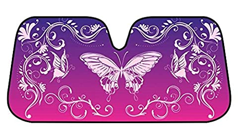 SWIRL Butterfly SunShade Mystic Butterflies Reflective Double Bubble Foil Jumbo Folding Accordion SUNSHADE for Car Truck SUV Front Windshield Window Reversible Sun Shade Universal 28x58 inches BDK
