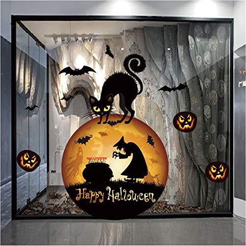 YIHOPAINTI Wandaufkleber für Fenster, Glas, Halloween, Hexe, Katze, elektrostatische Aufkleber (Für Fenster-ideen Halloween)