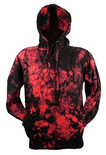 Chameleon Clothing Tie Dye Red Scrunch Batik Hoodie Hood 701824 Herren Hood 006 2XL (Tie Red Dye)