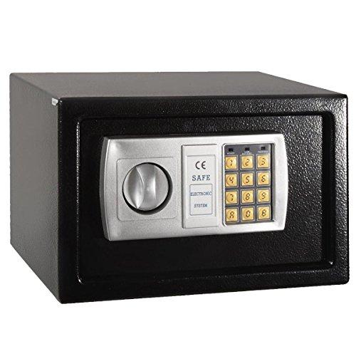 Massiver Elektronischer Safe mit Sicherheitscode Tresor Geldschrank Wandtresor Wandsafe, 20x31x20cm (Schwarz)