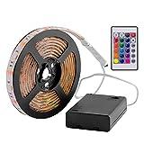 Exsart RGB LED Streifen 5050 SMD Licht Band Leiste Wasserdicht Batteriebetrieben 2M