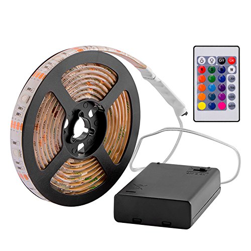 Exsart RGB LED Streifen 5050 SMD Licht Band Leiste Wasserdicht Batteriebetrieben 2M (Cool White Led-chip)