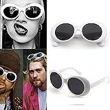 An-sell 2018 lunettes de soleil unisexes ovales lunettes grunge blanc (Blanc)