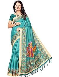 Peachmode Women's Sea Blue Casual Printed Khadi Silk Saree