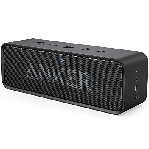 Anker SoundCore - Mobiler Bluetooth 4.0 Lautsprecher mit unglaublicher 24-Stunden-Akkulaufzeit und Dual-Treiber Wireless Speaker mit reinem Bass und eingebautem Mikrofon für iPhone, iPad, Samsung, Nexus, HTC und andere Android Geräte (Schwarz) (Wireless Dual-kopfhörer)