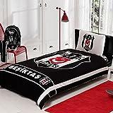 Fanartikel Beşiktaş 1903 Jugendbettwäsche Einzelbett Bettwäsche Bettdeckenbezug(160x220cm), Bettwäsche 100% Baumwolle mit Bettbezug, Spannbettlacke(100x200cm) und Kissenbezug(50x70cm)Made in der Türkei