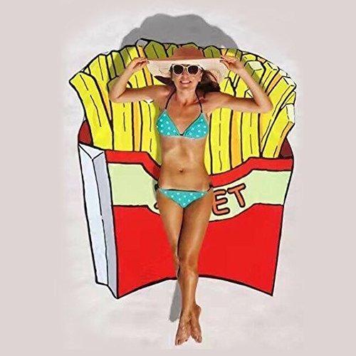 Baffect® Mousseline et Polyester 150 * 150cm Serviette de plage ronde Couverture de plage Toile de coton circulaire Tapis de pique-nique de serviette de plage (chips)