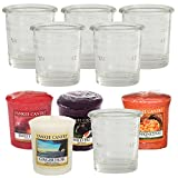Yankee Candle, set regalo porta candele e candele Pasqua, votivi, Vetro, Clear, SIX Clear Buckets FOUR Samplers