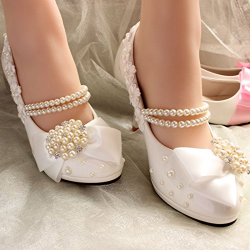 JINGXINSTORE Weißen High Heels Diamond Braut Hochzeit Schuhe bestickter Spitze bowknot Stilettos, EUR 38 = US 7 = UK5, Weiß