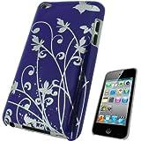 igadgitz Hartschalentasche Hardcase Schutzhülle Hülle Tasche Case in Lila mit Motif Schmetterlinge und Blumen in Farbe Silber für Apple iPod Touch 4G 4. Gen Generation 8gb 32gb und 64gb + Display Schutzfolie