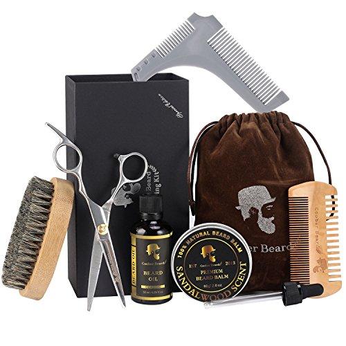 Kit de cuidado de la barba para el cuidado de la barba, kit de recortes para hombres, regalo con cepillo de barba y peine, tijeras de bigote, aceite de barba sin perfume, bálsamo de barba para estilo, forma y crecimiento Set de regalo