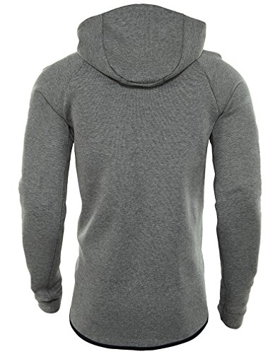 Nike M NSW TCH FLC WR HOODIE FZ - Sweatshirt Schwarz Grau (carbon heather / black)