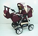 3 in 1 Kombikinderwagen Komplettset VIP - inkl. Kinderwagen, Babyschale und Sportwagen Aufsatz - 1. ALU Hartgummi Bereifung - 1. Bordeaux-Cream