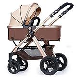 SUBBYE Kinderwagen Baby-Pushchair / Two-Way kann sitzen Ultra-Light Falten Falten Vier-Wheeled Baby Trolley Champagner Gold Farbe Baby-Kinderwagen ( Farbe : A )