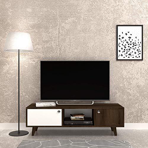 The Furniture Project Meuble TV Rustique Décoration - 135 x 40 cm - Marron et Blanc