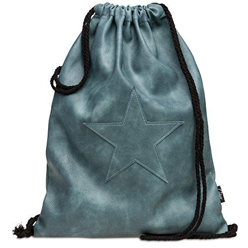 CASPAR TS1050 Vintage Sportbeutel / Turnbeutel / Rucksack mit Stern, Farbe:jeans blau;Größe:One Size (Kordelzug-wildleder-beutel)