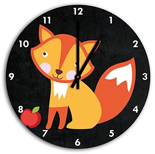 renard mignon avec pomme noire, horloge murale diamètre 30 cm avec aiguilles et cadran pointus noirs, article décoratif, horloge design, composite alu très belle pour le séjour, la chambre d'enfant, le bureau
