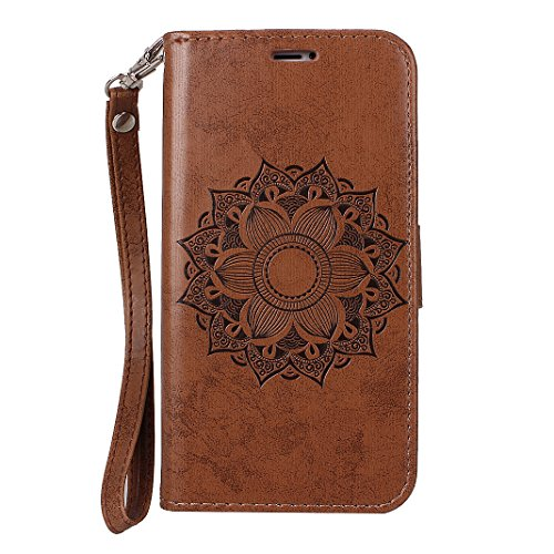 Etui iPhone X Case,Coque Cuir iPhone X Housse Apple Case Rosa Schleife Folio Cuir Portefeuille Ultra Slim Leather Wallet arriere Housse Téléphone etui de protection [Motif Mandala Pattern]Pochette etu Marron