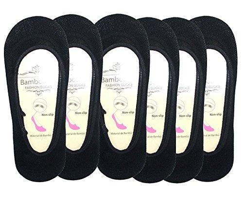 Womens Premium Non Slip Bambus versteckten Schuh Liner Socke (schwarz, 6 Pack) (Bambus Socke-liner)