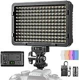 ESDDI Faretto a LED Fotografico 176 LED Ultra Luminoso Dimmerabile, 3200-5600K Luce Bianca e Gialla, CRI 95, con Batteria, Baricabatteria e 4 Filtri di Diffusione del Colore, per Fotocamera DSLR