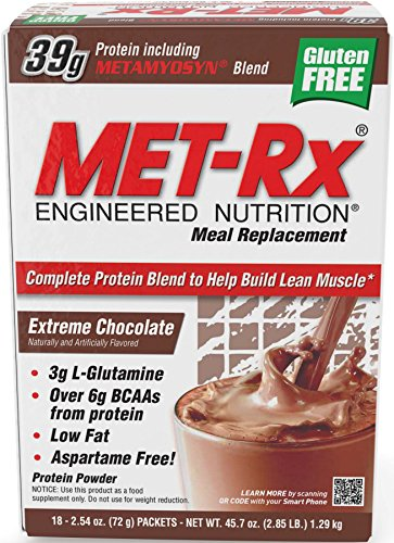 MET-Rx Meal Replacement Protein Powder - Chocolate - 18 - 2.54 Oz (72 G) Packets [45.7 Oz (1.29 Kg)] by MET-Rx