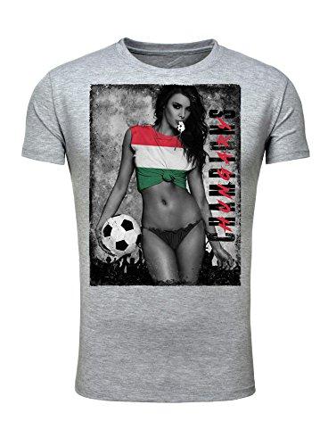 Legendary Items Herren T-Shirt WM 2018 Trikot Sexy Girl Frau Fußball Weltmeisterschaft Vintage Grau Ungarn