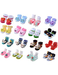 SHOP FRENZY Infants Cotton Cartoon FACE Socks Cum Shoes Fancy Designer Stylish Baby Girl/Boys Booties Soft Socks for Kids (0-1 Years) - Set of 1