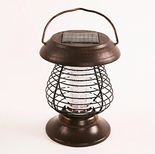 AMZH Inicio Mosquito solar de carga fuera de las luces de la mosca Al aire libre jardín electrónico Insecto asesino lámpara Repelente Mosquito