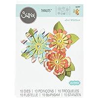 Sizzix Mix e Match fiori by Lori Whitlock Thinlits, in acciaio al carbonio, Multicolore, confezione da 10 - Big Shot Taglio Pad