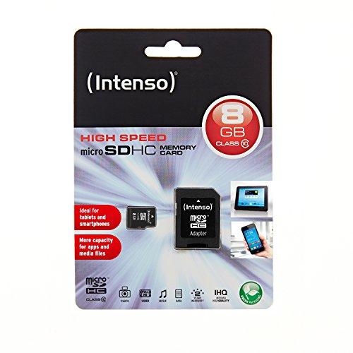 Intenso Micro SDHC 8GB Class 10 Speicherkarte inkl. SD-Adapter