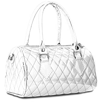CASPAR - Petit sac à main vernis pour femme - Sac bowling - plusieurs coloris - TS758, Farbe:weiss