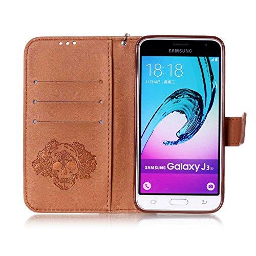 Custodia Galaxy J3 ISAKEN Cover Samsung Galaxy J3 con Strap, Elegante borsa Dente di leone Design in Pelle Sintetica Ecopelle PU Case Cover Protettiva Flip Portafoglio Case Cover Protezione Caso con S cranio:marrone