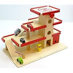 Unbekannt 2er Set: Großes Parkhaus mit 4er Set Mini Autos aus Holz / Maße: 64 x 37 x 43 cm / Stabile Verarbeitung / für Kinder ab 3 Jahren