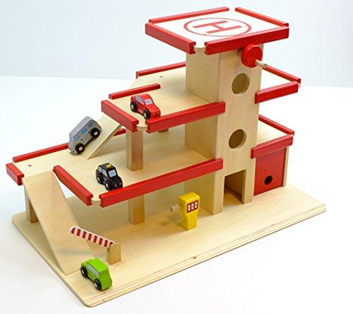 Garage, Türen Große (2er Set: Großes Parkhaus mit 4er Set Mini Autos aus Holz / Maße: 64 x 37 x 43 cm / stabile Verarbeitung / für Kinder ab 3 Jahren)