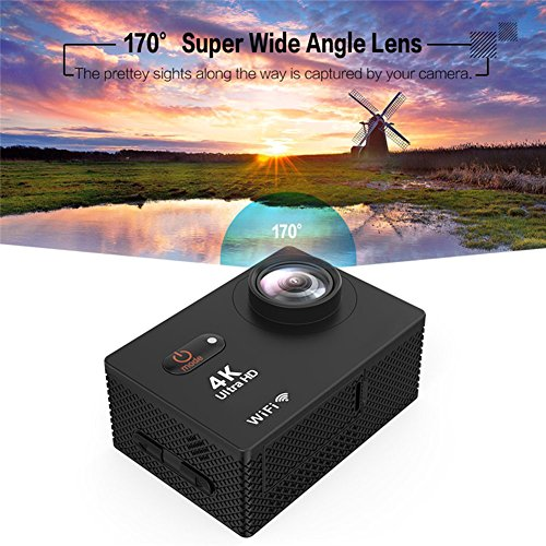 action Camera 4K particularly HD Wifi Waterproof Cam utilizing UnderWater 30M 98ft 20 inches contact tv screen and 170 Degree diverse Angle LensBlack action Cameras