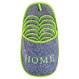 ABS Gästepantoffel Home | Greygreen | 6er Set | Antirutsch | Hausschuhe mit Aufbewahrungstasche