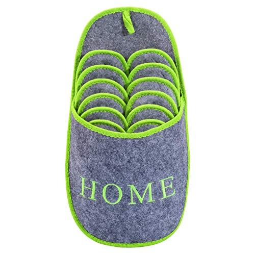 ONVAYA ABS Gästepantoffel Home greygreen | Grün Grau | 6er Set | Antirutsch | Hausschuhe | Pantoffel
