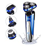 Electric Razor for Men homeasy 4D Rechargeable Battery Shaver IPX6 Waterproof Wet and Dry Mans Rotary Shaving Machine with Nose Beard Pop-up Trimmer Face Cleaning Brush 4 in 1 Mens Electronic Shavers