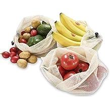 Bluesialia Bolsas con Mallas de Algod/ón Org/ánico 100/% Reutilizable y Lavable de 6 Piezas Bolsas para Frutas y Verduras de 6 Piezas
