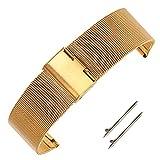 14mm Damenmode Milanaisearmband Uhrenarmband aus Gold festen Inox-Stahl mit Schnellspannern Federstab